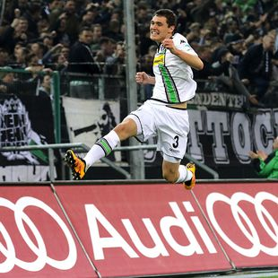 MOENCHENGLADBACH, GERMANY - FEBRUARY 05: Andreas Christensen of Borussia Moenchengladbach celebrates after his team's third goal during the Bundesliga match between Borussia Moenchengladbach and Werder Bremen at Borussia-Park on Feburary 5, 2016 in Moenchengladbach, Germany. (Photo by Christian Verheyen/Borussia Moenchengladbach via Getty Images)